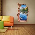 Breaken стены 3D стены Стикеры s Красочный пруд украшения дома гостиная фон горные пейзажи рваные дверь Стикеры купить на AliExpress