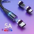 Рок-н-5A Магнитный кабель Micro Usb Тип C супер быстрая зарядка для телефонов Usb C светодиодный свет для мобильного телефона, 1 м, 2 м, для iPhone Xiaomi