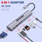 USB C док-станция thunderbolt 3 Type-c к HDMI VGA USB TF SD карта с 3,5 AUX аудио jack HD конвертер адаптер для Macbook pro