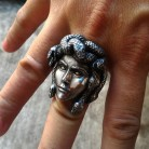 Greek Mythology Gorgon Monster 316L Stainless Steel Rings Horror Venomous Snakes Snake Hair Medusa Ring Punk Biker Jewelry
