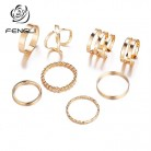 FENGLI Bijoux Wedding Rings for Women Multi Layer Cross Twist Ring Sets 8pc/Set Vintage Simple Jewelry-in Rings from Jewelry & Accessories on AliExpress
