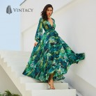 1509.46 руб. 49% СКИДКА|Vintacy платье с длинным рукавом зеленый тропический пляж Винтаж плате макси в стиле