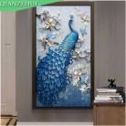 1848.24 руб.  QIANZEHUI, DIY Diamond вышивка, круглый бриллиант павлин синий вертикальный полный горный хрусталь алмазов картина вышивка крестиком, рукоделие купить на AliExpress