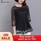 568.45 руб. 45% СКИДКА|Soperwillton Plus плюс размер женские топы и блузки открытая кружевная блузка женские топы элегантные рубашки Свободная сетчатая рубашка # B753-in Блузки и рубашки from Женская одежда on Aliexpress.com | Alibaba Group