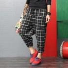 Шаровары Для женщин плед 2018 сезон: весна–лето Для женщин брюки с эластичной талией Уличная Хлопок линии брюки Pantalon Femme Новый купить на AliExpress