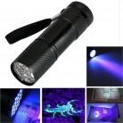 Мини Алюминий УФ Ультра фиолетовый 9 светодиодный фонарик BLACKLIGHT AAA Torch Light Лампы 8,8*2,5*2,5 см Окт #2 купить на AliExpress