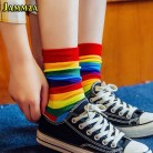 US $1.98 35% OFF|Cotton Elasticity Sweat Women's Long Socks Luxury Candy Color Rainbow Striped Sporty Meias Casual Retro Harajuku Socks-in Socks from Underwear & Sleepwears on AliExpress - 11.11_Double 11_Singles' Day