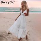 1235.23 руб. 46% СКИДКА BerryGo/белое сексуальное женское летнее платье с жемчугом 2019, с вышивкой, макси, хлопковые платья для вечеринок, длинные женские платья-in Платья from Женская одежда on Aliexpress.com   Alibaba Group