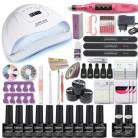 Набор для маникюра: УФ-лампа, цветной гель, аппарат для маникюра, пилочка, набор для наращивания