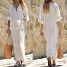 SHENGPALAE 2019 новая весенняя мода прилив белый v образный вырез Половина рукава пэчворк карманы Сплит свободный большой размер женское платье SA899 купить на AliExpress