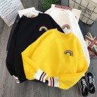 Harajuku Rainbow embroidery fleece Hoodies Women korean Kawaii Sweatshirts Usagi 90s Aesthetic oversized hoodie girl Streetwear
