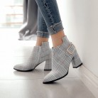 US $40.94 |KEBEIORITY 2018 Large Size Women Boots Fashion Plaid Pointed Toe High Heels Women's Shoes Sexy Autumn Winter Ankle Boots female-in Ankle Boots from Shoes on Aliexpress.com | Alibaba Group