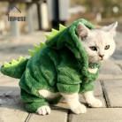 Хит продаж, одежда для домашних животных, котов, Забавный костюм динозавра, зимнее теплое плюшевое пальто для кошки, маленькая кофта с капюш...