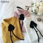 891.0 руб. 10% СКИДКА|Neploe шифоновая блузка галстук бабочка дизайнерская рубашка 2019 Весна расклешенный рукав Turn Down воротник Топы Модные женские элегантные блузы 34604 купить на AliExpress
