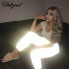 803.5 руб. 33% СКИДКА|Dulzura flash Светоотражающие jogger брюки для девочек 2018 Осень Зима для женщин Повседневное серый сплошной уличная мотобрюки купить на AliExpress