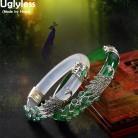 2367.83руб. 56% СКИДКА|Uglyless, настоящее 925 пробы, серебряные браслеты для женщин, тайское серебро, животный халцедон, павлин, браслеты, нефрит, креативный браслет, ювелирное изделие-in Гибкие и жесткие браслеты from Украшения и аксессуары on AliExpress