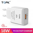 291.1 руб. 35% СКИДКА|TOPK Quick Charge 3.0 Mobile Phone Charger 18W Fast USB Charger EU Plug Wall USB Charger Adapter for iPhone Samsung Xiaomi LG-in ЗУ для мобильных телефонов from Мобильные телефоны и телекоммуникации on Aliexpress.com | Alibaba Group