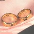 70.88 руб. 16% СКИДКА|Пара колец его королева ее король обручальные кольца простой Нержавеющая сталь золотое кольцо для мужчин Wo для мужчин s Мода Ювелирные украшения для свиданий купить на AliExpress