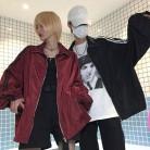 1422.3 руб. 49% СКИДКА|Harajuku полоса пара пальто Для женщин 2018 Осень корейский BF Стиль Лидер продаж уличная молния Свободные нагрудные модные Фитнес повседневная куртка купить на AliExpress