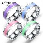 63.38 руб. 50% СКИДКА|Liumo мода фиолетовый зеленый синий розовый цвет для женщин мужчин нержавеющая сталь пара кольцо Lr538 купить на AliExpress