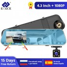 E-ACE A10 Hot Full HD 1080P Car Dvr Camera Auto 4.3 Inch Rearview Mirror Digital Video Recorder Dual Lens Registratory Camcorder