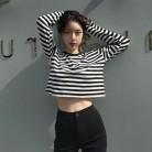 246.29 руб. 34% СКИДКА|Осень 2018, новая простая повседневная черно белая полосатая футболка с длинными рукавами, свободная футболка с круглым вырезом, модная женская одежда высокого качества-in Футболки from Женская одежда on Aliexpress.com | Alibaba Group