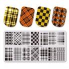 205.14 руб. 33% СКИДКА|BeautyBigBang штамповка для ногтей DIY геометрические XL 056 Плед Шаблон трафарет для ногтей штамповки пластины дизайн ногтей инструменты купить на AliExpress