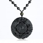 Natural Black Obsidian Pendant Necklace Dragon Phoenix with Chain the Eight Trigrams Pendant Amulet Peace Mascot For Men/Women