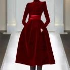 3213.27руб. 28% СКИДКА|2019 Новинка весна осень потрясающее женское однотонное платье со стоячим воротником черного и красного цвета размера плюс бархатное бальное платье принцессы милое платье-in Платья from Женская одежда on AliExpress - 11.11_Double 11_Singles' Day
