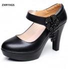 2465.58 руб. 17% СКИДКА|ZXRYXGS/Брендовые женские туфли лодочки из воловьей кожи на платформе, новинка 2018 года, женская модная обувь со стразами и цветами, обувь из натуральной кожи на высоком каблуке купить на AliExpress