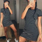 US $4.99 38% OFF|Enough Stock Summer Round Neck Short sleeved Dress Black And White Striped Dresses Casual Elegant Sheath Slim Dress Dropshipping-in Dresses from Women's Clothing on Aliexpress.com | Alibaba Group
