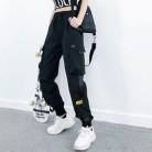 Женские Модные уличные брюки-карго, черные брюки до щиколотки с эластичной резинкой на талии, женские свободные брюки, повседневные штаны-ш...
