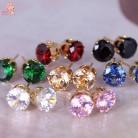 Новая мода серьги гвоздики для женщин круглый любимый дизайн шипованные Конфеты кристаллы CZ модные украшения купить на AliExpress