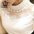702.55 руб. 14% СКИДКА|2018 Blusa 5XL бисерные кружевные топы блузка с кружевом пэчворк выдалбливают длинный рукав шифон женская рубашка плюс размер одежда-in Блузки и рубашки from Женская одежда on Aliexpress.com | Alibaba Group
