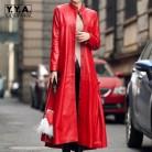 11039.69 руб. 20% СКИДКА|Высокое качество Новый 2018 Vogue длинные искусственная кожа пальто Jaqueta Couro Feminina Евро Мода черный уличная Casaco для женщин; большие размеры купить на AliExpress