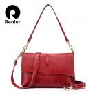 US $26.48 65% OFF|REALER genuine leather women shoulder bag female crossbody bags ladies messenger bag flap with alligator print for women fashion-in Shoulder Bags from Luggage & Bags on Aliexpress.com | Alibaba Group