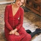 1896.33 руб. |Женское Красное Цветочное платье с v образным вырезом и длинным рукавом-in Платья from Женская одежда on Aliexpress.com | Alibaba Group