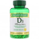 Nature's Bounty, D3, 125 mcg (5,000 IU), 240 Rapid Release Softgels