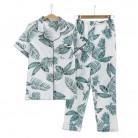 US $13.92 20% OFF|Summer Fresh leaf pyjamas women 100% gauze cotton short sleeve trousers Korea pajamas sets women sleepwear homewear mujer-in Pajama Sets from Underwear & Sleepwears on AliExpress - 11.11_Double 11_Singles' Day