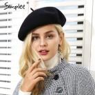 Simplee зима элегантный шерстяной берет Для женщин Повседневная Уличная одежда теплый берет шапка кепка осень вечерние клуб женский берет шапочка 2018 купить на AliExpress