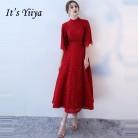 3620.83руб. 51% СКИДКА|Это Yiiya Формальные Вечерние платья на шнуровке, бисероплетение, половина рукава, кружевное сексуальное платье с открытой спиной, модное дизайнерское торжественное платье LX1008-in Вечерние платья from Все для свадеб и торжеств on AliExpress - 11.11_Double 11_Singles' Day