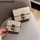 Mini Chains Weaving Crossbody Bag Women Winter Tweed Wool Handbag Designer Satchels Female Channels Lock Shoulder Messenger Bags
