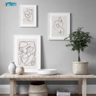 Скандинавские абстрактные линии постер Холст Картина Печать женское тело поцелуй настенные художественные декоративные картины для гости... - Красивые постеры в ваш дом