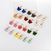Женские акриловые серьги-бабочки Luokey, Разноцветные серьги с цирконием кубической огранки, корейские ювелирные изделия для подарка - Топ украшений с Алиэкспресс