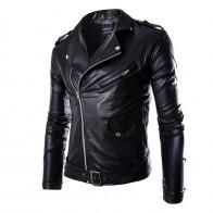 594.56 руб. 30% СКИДКА|Мужская кожаная куртка HEFLASHOR, повседневная черная приталенная куртка со скошенной молнией, в байкерском стиле, осень 2019-in Куртки from Мужская одежда on Aliexpress.com | Alibaba Group