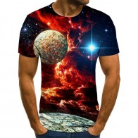 New 3D printing cool starry sky T-shirt short-sleeved popular hip hop T-shirt top summer fashion casual size XXS-6XL