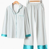 Stripe Cotton Lapel Long Sleeve Button-Down Pajama Set