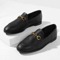 Черные Туфли С Металлической Пряжкой На Низком Каблуке