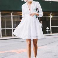 2425.34 руб. 24% СКИДКА|AEL выдалбливают Глубокий v образный вырез женское платье повседневное лето белый женский жакет взлетно посадочной полосы уличная 2018 женс-in Платья from Женская одежда on Aliexpress.com | Alibaba Group