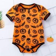 Baby Unisex Contrast Binding Halloween Print Bodysuit